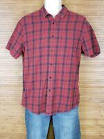 Topman Red Plaid Short Sleeve Flannel Shirt Mens Size Medium M EUC