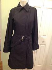 Allegri Milano Womens Very Elegant Navy Blue Belted Coat Size 42 Us 8-10