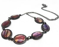VINTAGE Abalone Shell Necklace Oval Mother Pearl Shell Collar