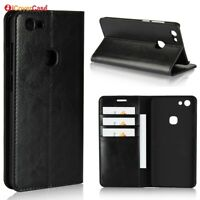 Luxury Genuine Leather Wallet Flip Case Stand Cover For Vivo V7
