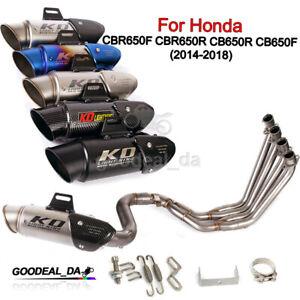 Exhaust System For Honda CBR650F CB650F CBR650R Front Link Pipe 51mm Muffler Tip