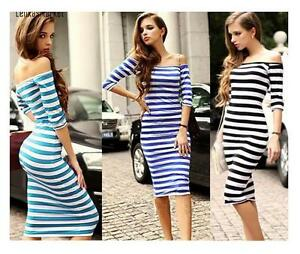 Hot Sexy Women Pencil Club Party Wear Stripes Bodycon Sabrina Off Shoulder Dress