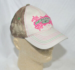 Youth Team Realtree Pink & Green Logo Camo & Beige Cap  Colored Thead Trim NEW
