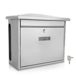 SereneLife Indoor Outdoor Metal Wall Mount Secure Locking Mailbox, Silver