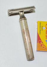 Early Gillette Nickel Plated Fat Handle DE Tech Razor, NICE VALUE
