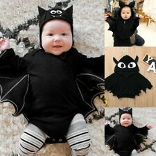 Newborn Baby Boys Girls Halloween Cartoon Cosplay Costume Romper Hat Outfits Set