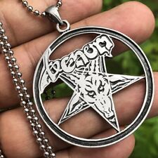 Baphomet Venom Inverted Pentacle Star Pewter Pendant Necklace Silver Ball Chain
