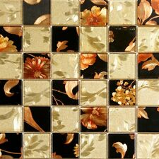 2x2 Gold And Black Floral Pattern Glass Mosaic Tile