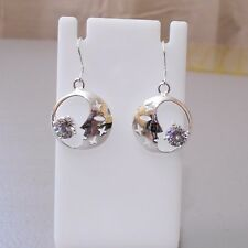 925 Sterling Silver Moon Earrings with CZ Stones