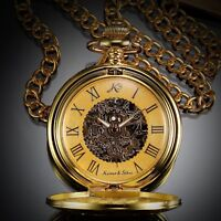 KS Antique Men's Mechanical Skeleton Rome Numbers Dial Pocket Watch Gift Chain