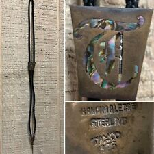 """Vtg RANCHO ALEGRE TAXCO 925 Letter """"T"""" BOLO TIE Sterling Silver Mother Of Pearl"""