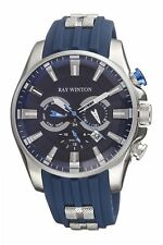 Ray Winton Men's WI0513 Multi-Function GMT Blue Dial Blue Silicone Watch