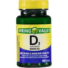 Spring Valley Vitamin D3 Softgels 125 mcg 5000 IU 100 Ct , Immune Health