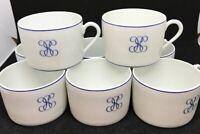 Porcelaine Lafarge Limoges France Flat coffee/tea cups white w/blue trim (set 8)
