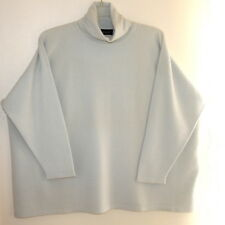 NEW Eskandar OS Lightest Seafoam 100% Cashmere Medium-Weight Turtleneck Sweater