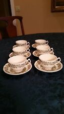 """JOHNSON BROTHERS MERRY CHRISTMAS 2-3/8"""" FLAT CUPS AND SAUCERS (SET OF 6) - MINT"""