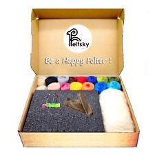 16 Color Wool And Felt Needles Tool Set Needle Felting Mat Starter DIY Kit Gift