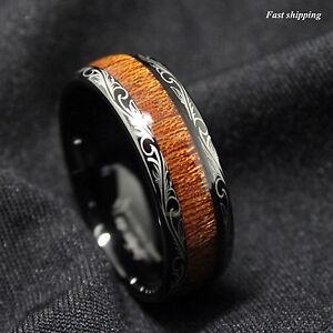 Black Tungsten carbide Ring Koa Wood Inlay Dome Wedding Band ATOP men's jewelry
