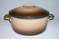 GLOBE-WEAR ~ Vintage Brown Enamelware+Iron COVERED CASSEROLE (32 Oz.) ~ LA, CA