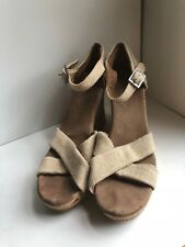 eca32cd0993 Toms Sienna Light Brown Canvas Ankle Strap Wedge Sandals Womens Size 9