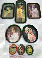 5 Dif ☆ Vintage 1970s Authentic Reproduction WWI COKE Coca-Cola Tin Tray +Bonus