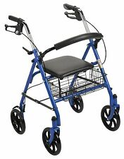 New Durable Drive Blue Rollator Rolling Walker Folding Large Wheels Seat Basket