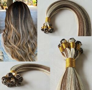 """18"""", 20″, 22"""" Hand-Tied Weft, 100 grams, Human Remy Hair Extensions #4/613"""