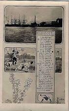 Calendario Mese Ottobre 1904 PC Belle Epoque Fotomontaggio Segni Zodiacali