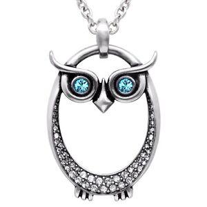 Controse Owl Birthstone Choose Color Swarovski Crystal Pendant Necklace CN156