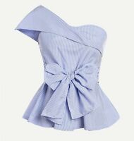 Foldover One Shoulder Bow Front Asymmetrical Neck Peplum Blue Top Blouse