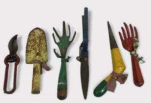 6 Pcs Lot Vintage Old Country Garden Tools Rake Hard To Find Dibber Colorful S61