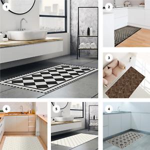 Vinyl Floor Mat Tiles Pattern Non Slip Easy Clean Home Decoration 120 x 66cm