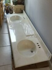 """Brand New 71"""" Long Double Sink Bathroom Vanity with Cultured Marble Bone Color"""