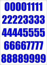 Number sheet sticker vinyl decal car bike door wheelie bin blue race
