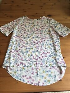 Primark Size 14 White Pink Floral Top Semi Sheer Button Shoulders Round Neck