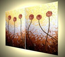 Original Abstract Red Flowers Art Metallic Gold Poppies Textured Painting 28x44