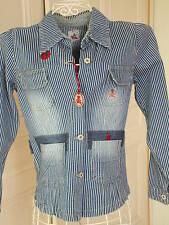 Veste Blouson Jeans rayé coton LULU CASTAGNETTE 34 36 12 14 ans Neuve etiquetée
