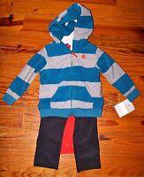 New! Boys CARTER'S 3pc Blue Gray Orange Fleece Stripe Hoodie Outfit 12 Months