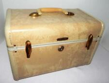 Vintage SAMSONITE Train CASE Suitcase with KEY Tan & White Marble