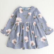 Kids Toddler Baby Girl Long Sleeve Floral Bowknot Party Princess Tutu Dresses US