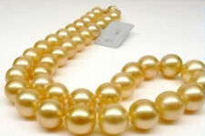 """12mm Natural South Sea Gold shell Pearl Necklace 18"""""""