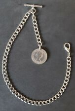 New silver colour Albert pocket watch chain with clasp t-bar & ER II Shilling
