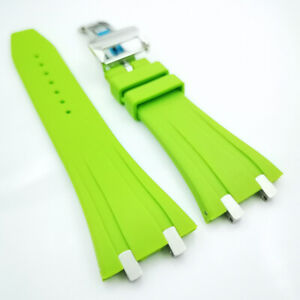 26mm New Green Rubber Folding Clasp Strap for AP 15400 15300 Royal Oak 39mm 41mm