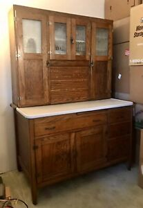 Antique Oak Hoosier Style Cabinet Buffet Etched Frosted Glass Original