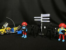 Playmobil 3847 Camera Crew Lot w/ Sign, Motorcycle, Camcorders, Stands, Cameras