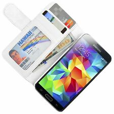 2x Pellicole + Custodia case Slot Carte BOOK supporto per Galaxy S5 Mini Bianca