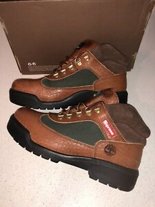 Supreme Timberland Field Boots Crocodile Leather Brown Green