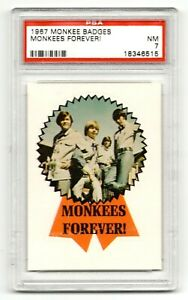 1967 Monkees Badges Monkees Forever Micky Peter Davy Mike PSA 7