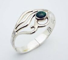 """Classic TJ-49 Mexico 6-5/8"""" Hinged Malachite Bracelet in Sterling Silver"""