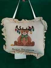 """Beary Chrismoose"" Door Knob Christmas Holiday Pillow"